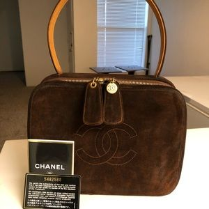 RARE CHANEL CLUTCH BOX BAG BROWN SUEDE